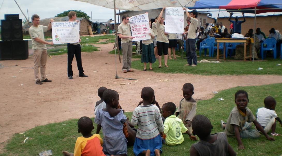 Projects Abroad high school volunteers participate in outreach activities during their human rights internship for teenagers in Ghana.